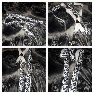 💀💀💀SKULL Suspenders, White/Black💀💀💀